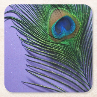Pastel Purple Peacock Feather Square Paper Coaster