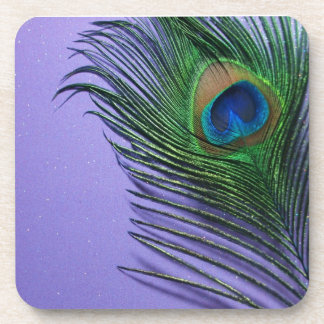 Pastel Purple Peacock Feather Still LIfe Coaster