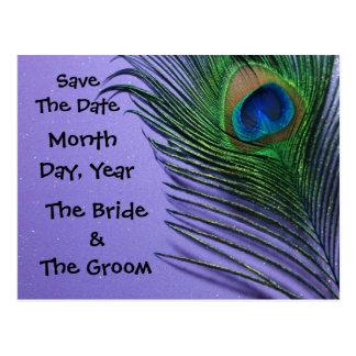Pastel Purple Peacock Save the Date Postcard
