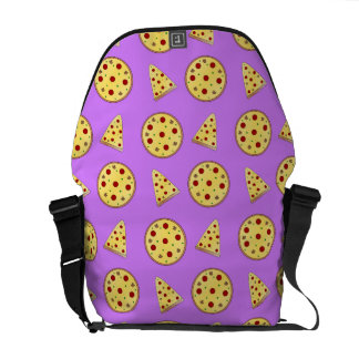Pastel purple pizza pattern messenger bag