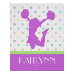 Pastel Purple Polka-Dot Cheer/Pom with Monogram Poster