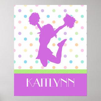 Pastel Purple Polka-Dot Cheer/Pom with Monogram Poster
