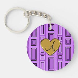 Pastel purple retro squares monogram Double-Sided round acrylic keychain