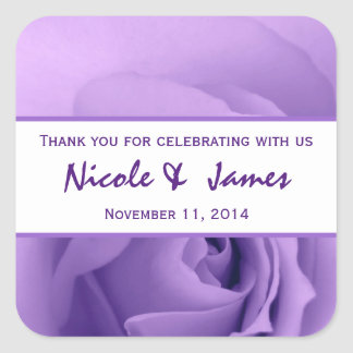 Pastel Purple Rose Bride Groom Thank You Wedding 2 Square Sticker
