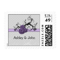 pastel purple roses wedding postage