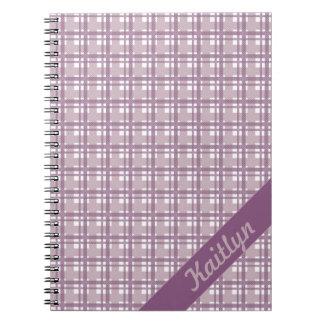Pastel Purple tartan pattern with name notebook