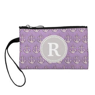 Pastel Purple Trendy Cute Nautical Anchor Monogram Coin Wallets