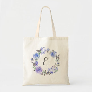 Pastel Purple Watercolor Floral  | Monogram Tote Bag