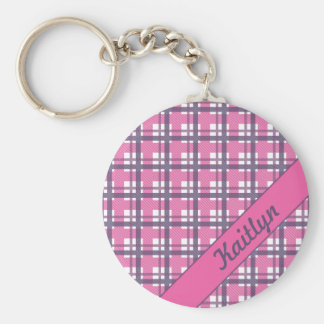 Pastel purple with sweet pink tartan pattern keychain