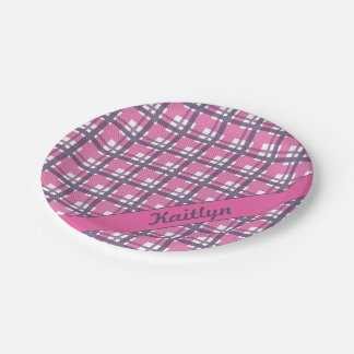 Pastel purple with sweet pink tartan pattern paper plate