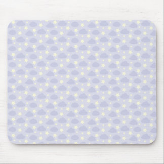 Pastel Purple, Yellow, Stars and Clouds Mouse Pad