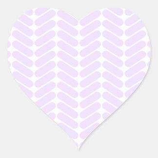 Pastel Purple Zigzag Pattern inspired by Knitting. Heart Sticker