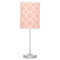 Pastel Quatrefoil Peach Pattern Table Lamp