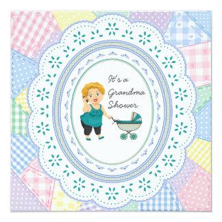 Pastel Quilt Grandma Baby Shower Card