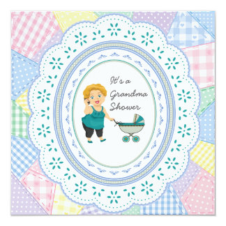 Pastel Quilt Grandma Baby Shower Card