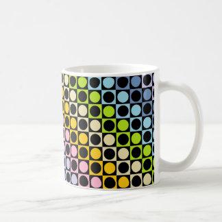 Pastel Rainbow and Black Squares and Polka Dots Coffee Mug