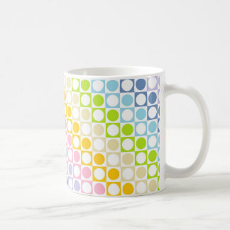 Pastel Rainbow and White Squares and Polka Dots Coffee Mug