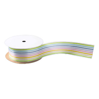 Pastel Rainbow and White Stripes Satin Ribbon