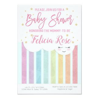 Pastel Rainbow Baby Shower Invitation Invite