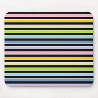 Pastel Rainbow, Black and White Stripes Mouse Pad