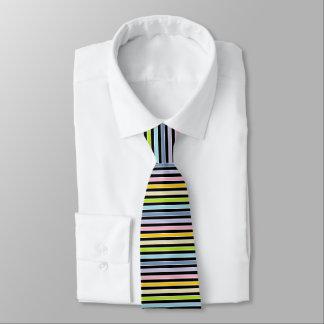 Pastel Rainbow, Black and White Stripes Tie