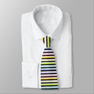 Pastel Rainbow Black White Stripes Tie