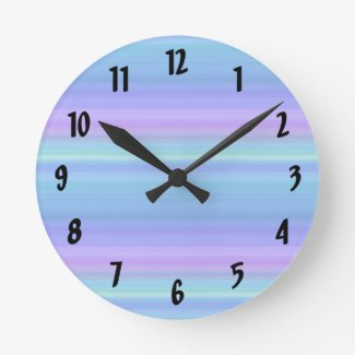 Pastel Rainbow Blue Purple Green Clock