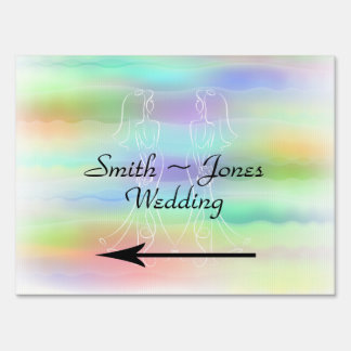 Pastel Rainbow Brides Wedding Direction Sign