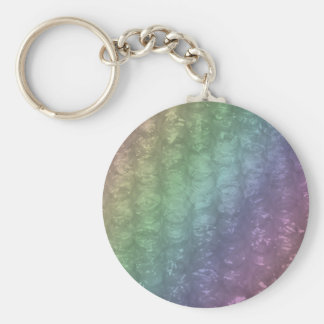 Pastel Rainbow Bubble Wrap Effect Basic Round Button Keychain
