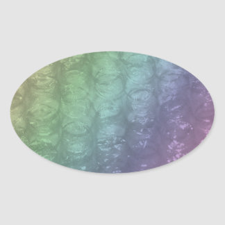 Pastel Rainbow Bubble Wrap Effect Oval Sticker