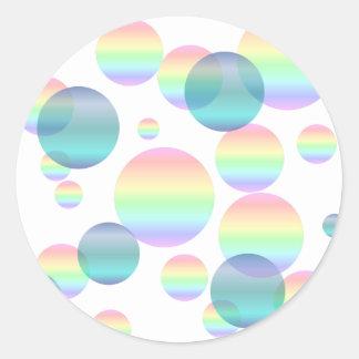 Pastel Rainbow Bubbles Classic Round Sticker