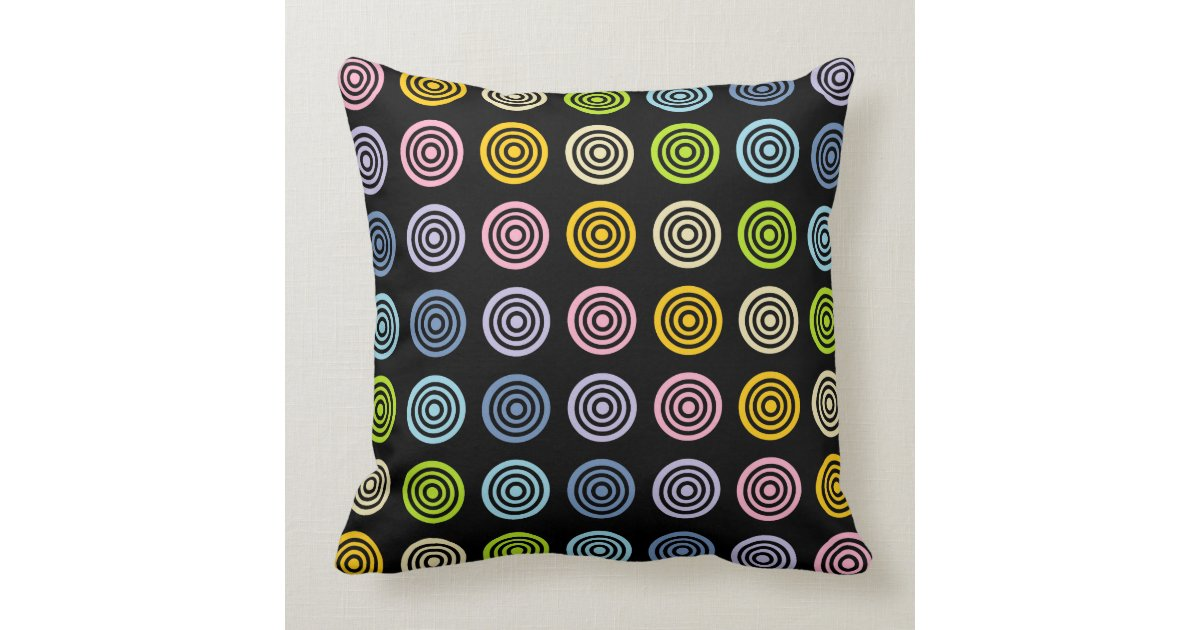 Pastel Rainbow Bullseye Black Throw Pillow Zazzle