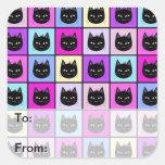 Pastel Rainbow Cat Pattern Square Stickers
