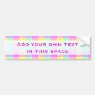Pastel Rainbow Checkered Bumper Sticker