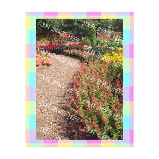 Pastel Rainbow Checkered Photo Frame Canvas Print