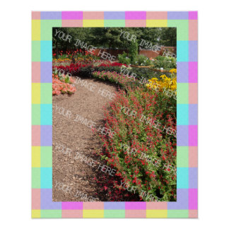 Pastel Rainbow Checkered Photo Frame Poster