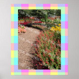 Pastel Rainbow Checkered Photo Frame Poster