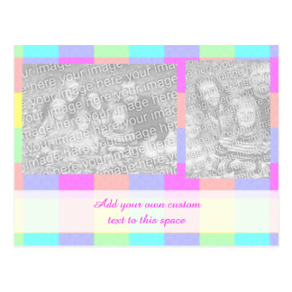 Pastel Rainbow Checkered Two Photo Postcard