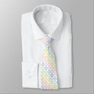 Pastel Rainbow Circles White Neck Tie