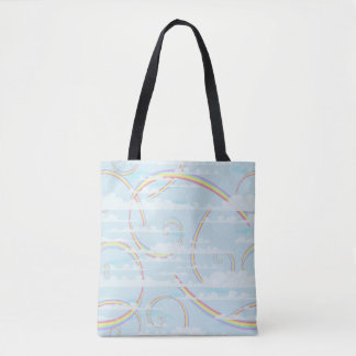 Pastel Rainbow, Clouds, Blue Sky, Swirl, Colorful Tote Bag
