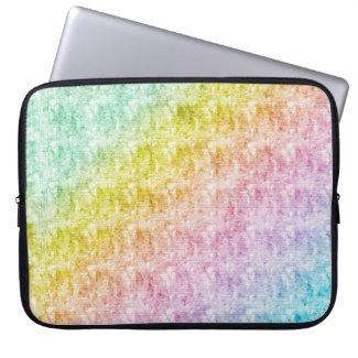 Pastel Rainbow Color Diagonal Stripes Laptop Cover