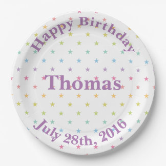 Pastel Rainbow Color Stars Your Customized Text Paper Plate