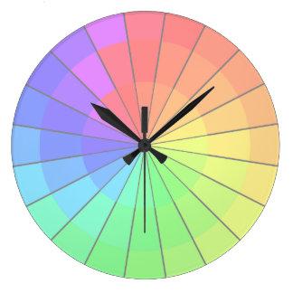 Pastel Rainbow Color Wheel Artists Clock