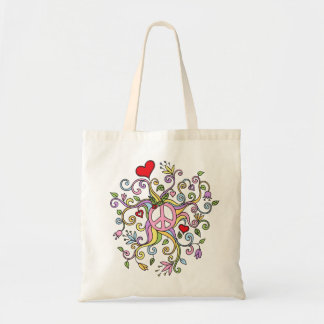 Pastel rainbow colored peace doodle tote bag
