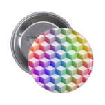 Pastel Rainbow Colored Shaded 3D Look Cubes 2 Inch Round Button