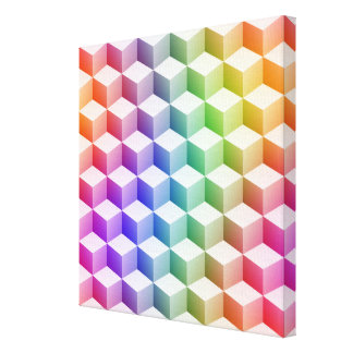 Pastel Rainbow Colored Shaded 3D Look Cubes Canvas Print