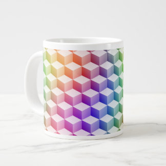 Pastel Rainbow Colored Shaded 3D Look Cubes Giant Coffee Mug