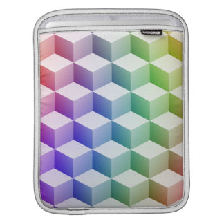 Pastel Rainbow Colored Shaded 3D Look Cubes iPad Sleeve