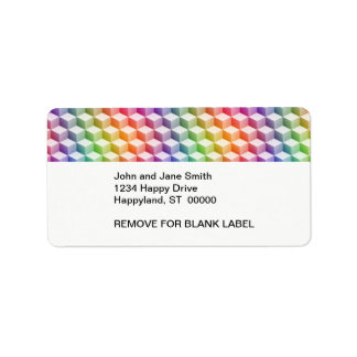 Pastel Rainbow Colored Shaded 3D Look Cubes Address Label