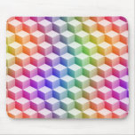 Pastel Rainbow Colored Shaded 3D Look Cubes Mouse Pad